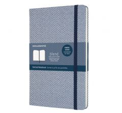 Moleskine Blend Limited Collection Notebook, Large, Dotted, Herringbone Blue (5 X 8.25)