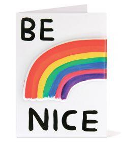 Be Nice Puffy Sticker Card