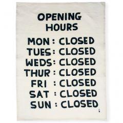 Opening Hours Tea Towel