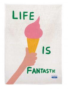 Life is Fantastic Tea Towel by David Shrigley