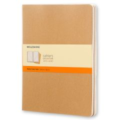 Moleskine Cahier Journal (Set of 3), Extra Large, Ruled, Kraft Brown, Soft Cover (7.5 x 10)