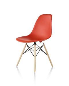 Eames Molded Plastic Side Chair Orange with Dowel-Leg Base